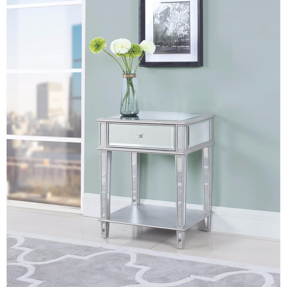 mirror accent table with one drawer silver coaster small outdoor patio tiffany peacock floor lamp coral chair threshold transitions entryway bench kitchen white bedside unit