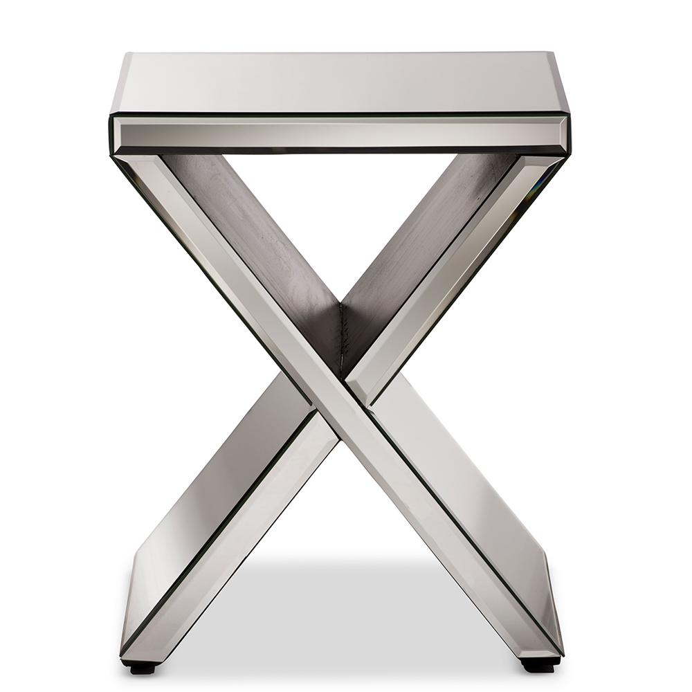 mirror side table modern furniture brickell collection accent silver gray antique rustic metal legs trellis wood patio target rose gold oval cover small kitchen seat for drums