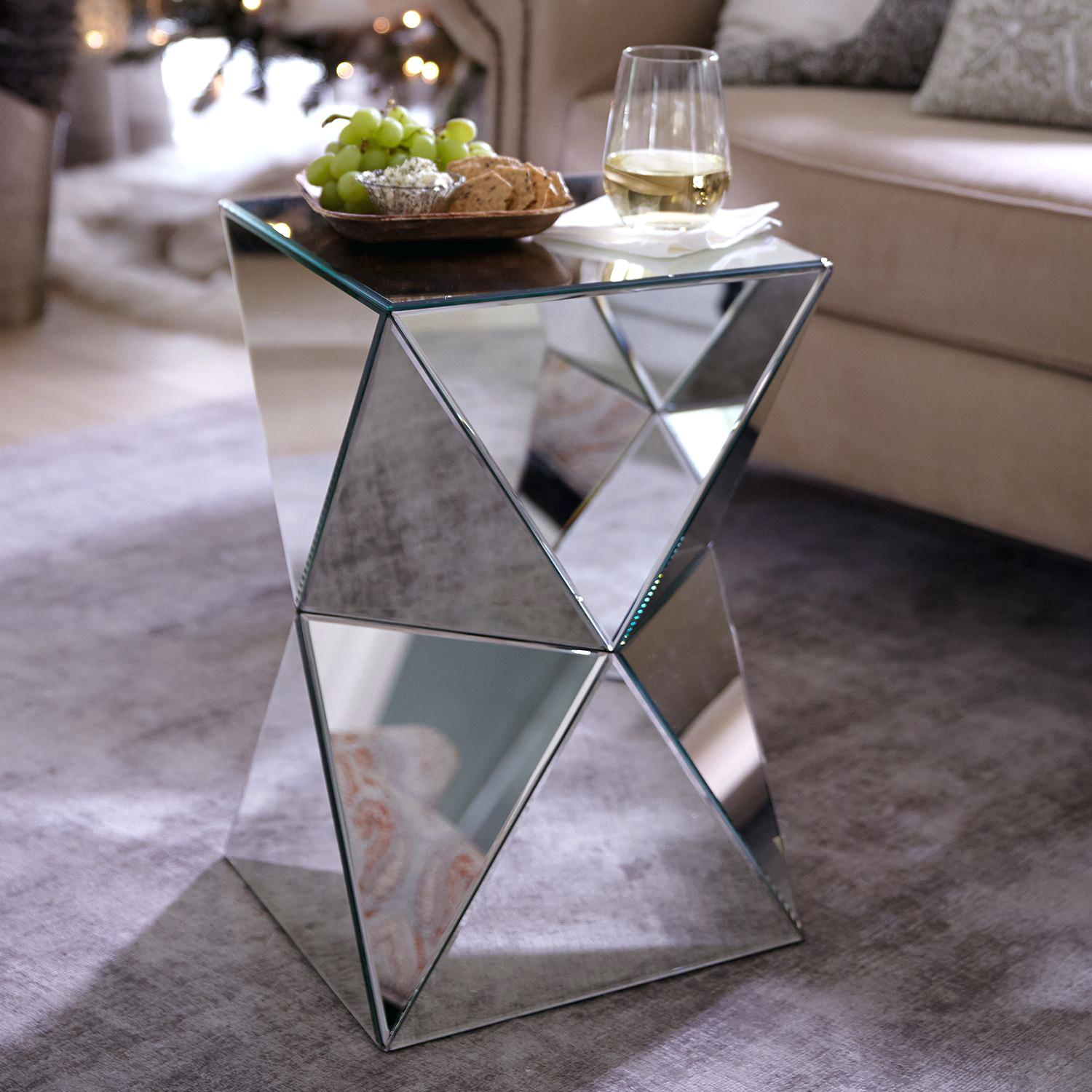 mirrored accent table coaster tables contemporary with drawer threshold wine rack below bath and beyond gift registry linens one fold out coffee christmas decor best bedroom