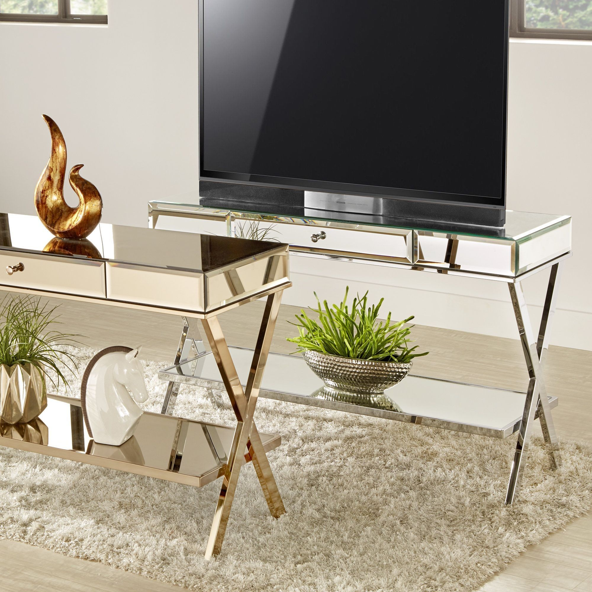mirrored accent table inspirational omni base stand with drawer inspire chrome bar top height tall glass lamp tables white end storage hampton bay wicker patio set room essentials