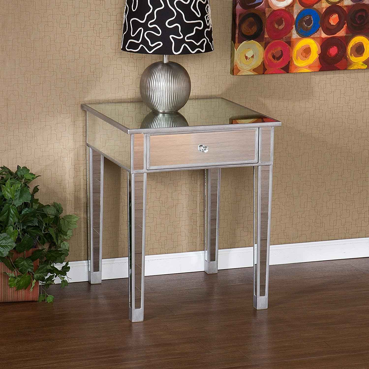 mirrored accent table with drawer house decorations very attractive design mirage kitchen dining nightstand home furniture restoration office storage cabinets craigslist chairs
