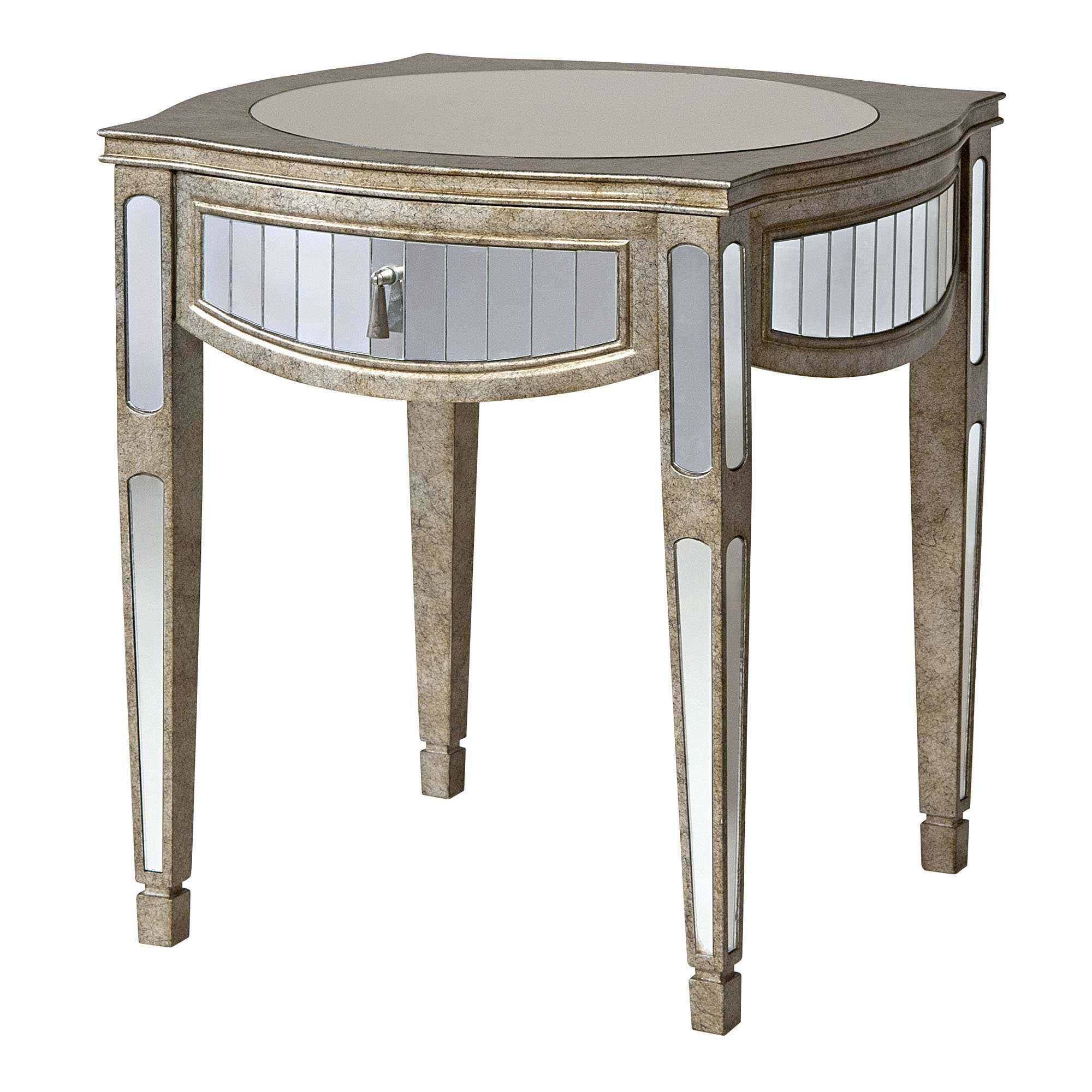 mirrored accent table with ideas and fabulous gold side tures round mirror neoteric design drawer decorating counter height kitchen storage sets tall lamps for bedroom end tables