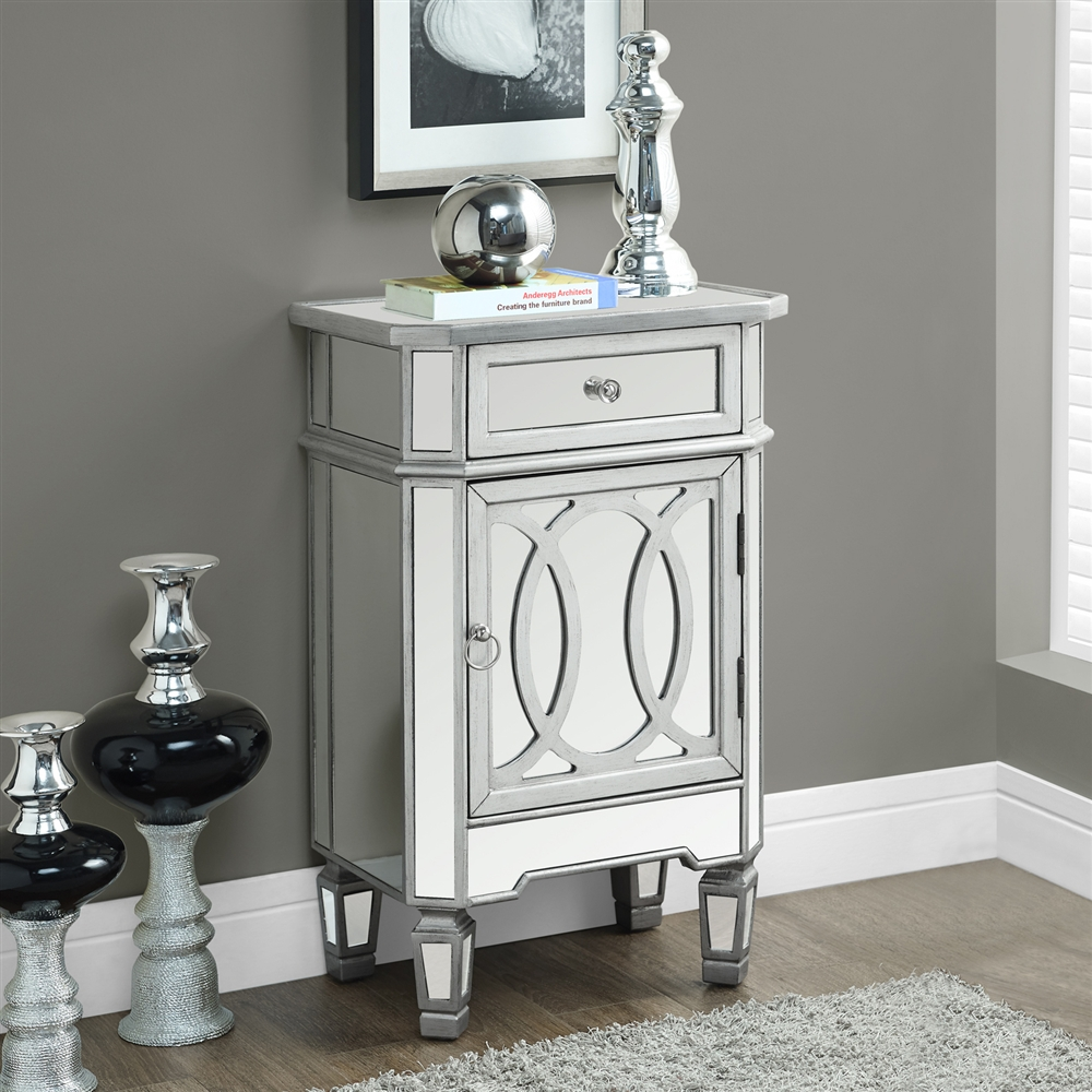 mirrored accent table with silver accents shelving marble top dining room tall white console thin bedside cabinets kitchen chair cushions ties small contemporary lamps piece