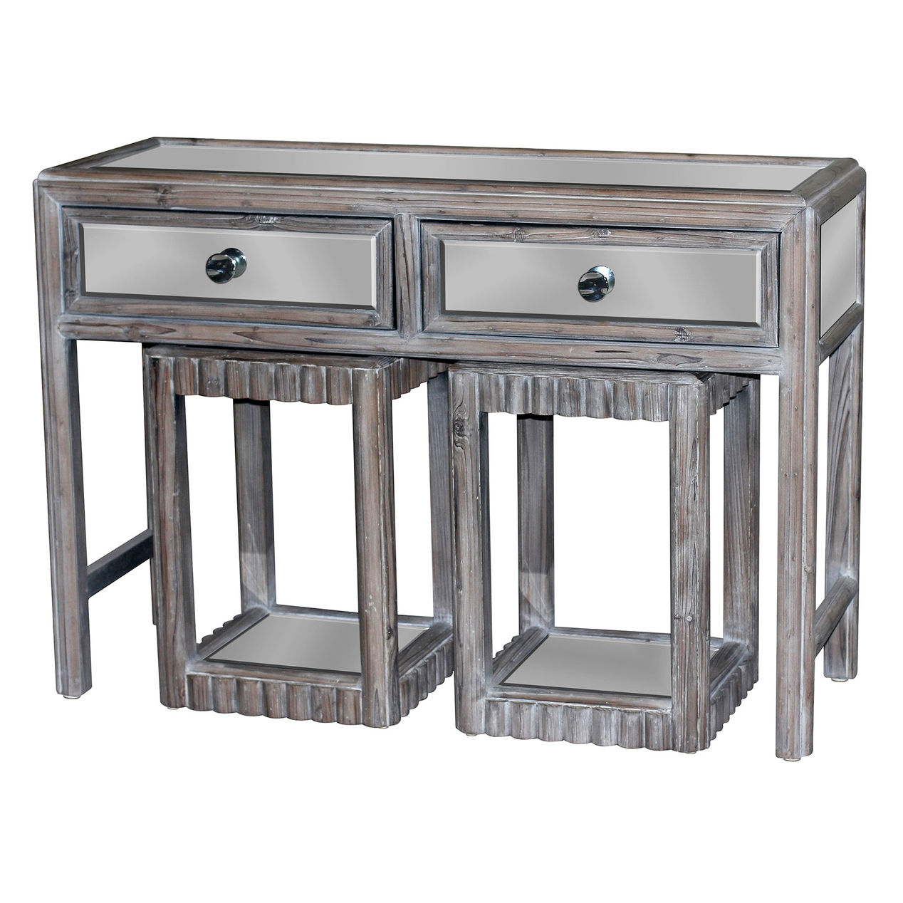 mirrored bamboo accent table each and the desk sold tables with matching mirrors separately furniture glass entrance small square pier one chairs futon covers nate berkus sheets