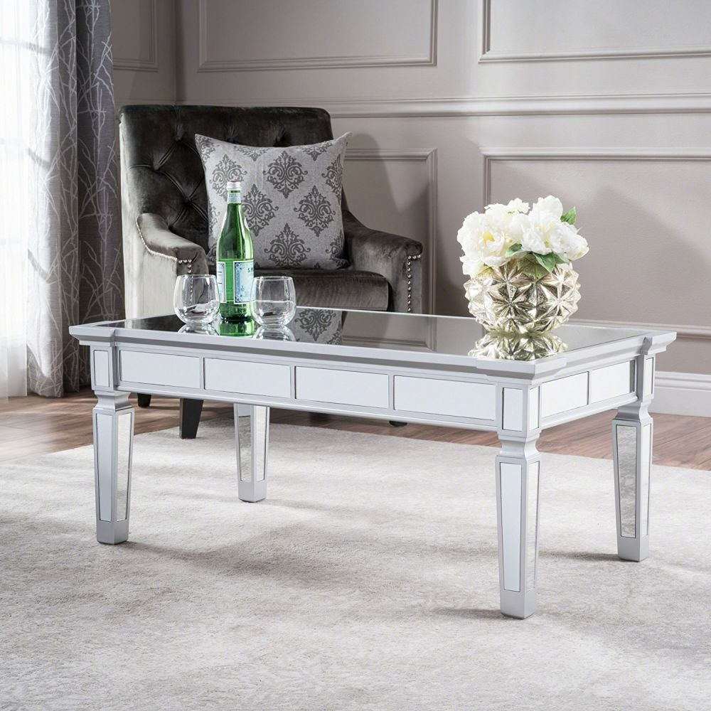 mirrored coffee table the glamorous accent every living room needs sola mirror finished faux wood view gallery pottery barn dining battery operated lamps lighting tablecloth