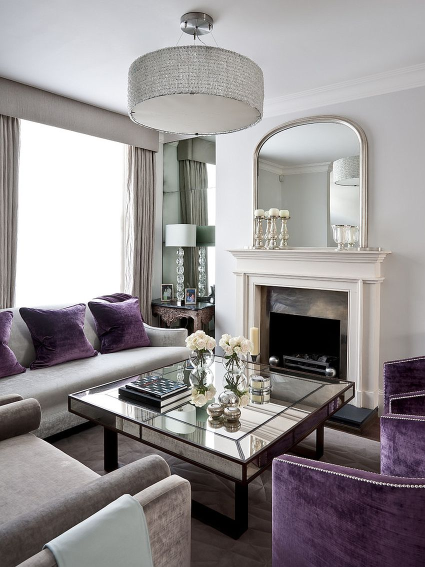 mirrored coffee tables that sparkle your home art deco living room with splashes purple and table accents ideas design gemma sitting chairs for green runner beach umbrella accent