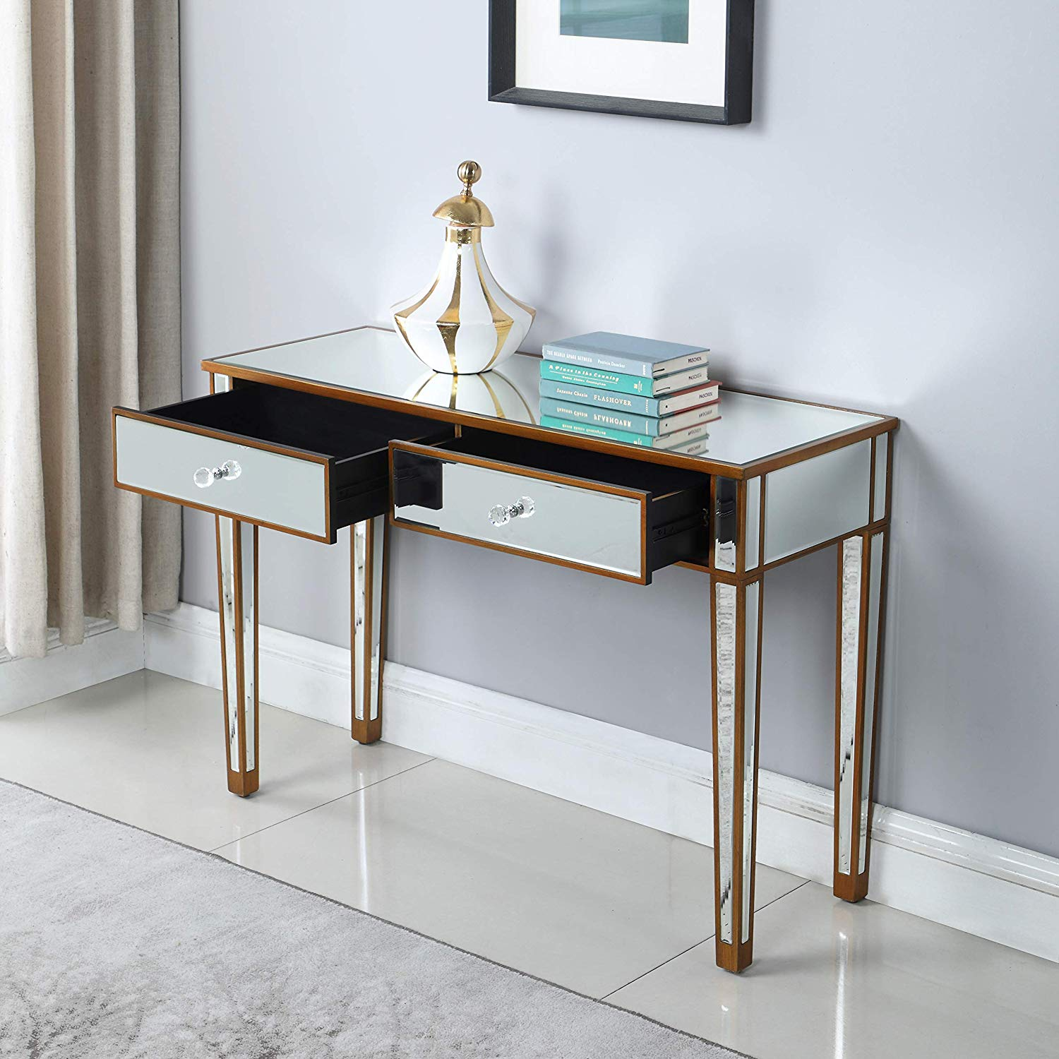 mirrored drawer media console table home makeup glass accent with desk vanity for women office writing smooth matte silver finish faux crystal nautical ceiling fans lights small