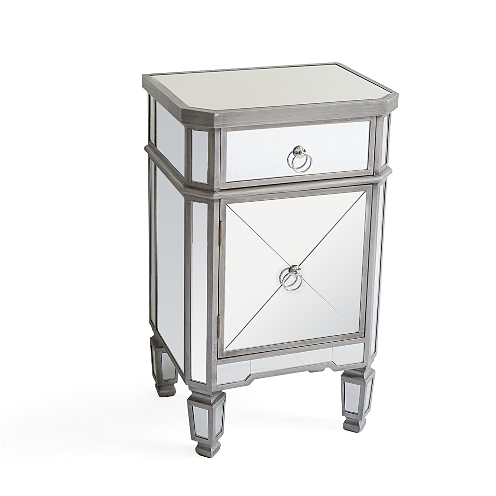 mirrored end table with drawer accent home furniture glass grace your the chest this modern and edgy piece will doubt eye catcher bedroom hallway living room leg extenders outdoor
