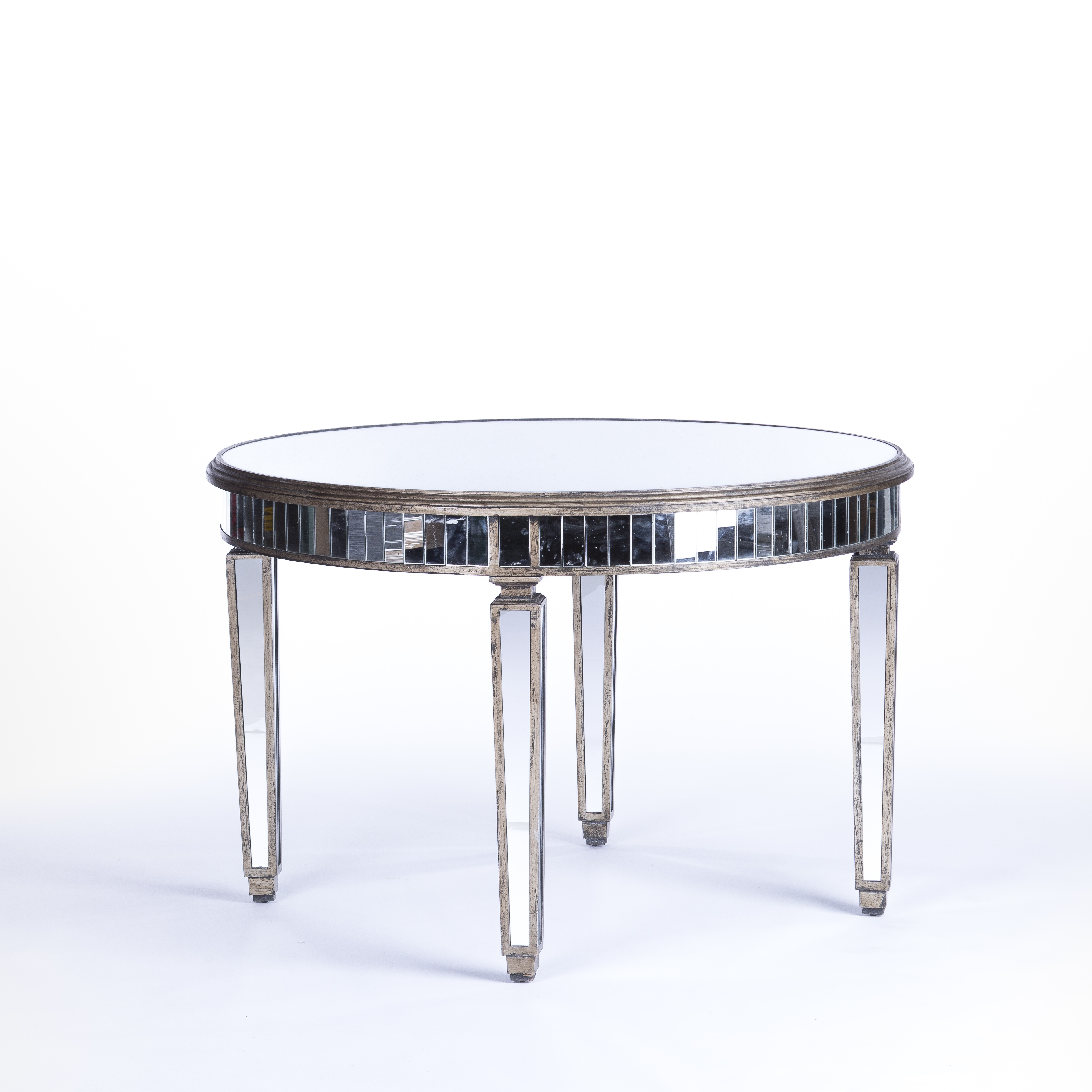 mirrored furniture rental encore events rentals round table accent tables small vintage console christmas runner pattern dining room sets target cocktail half moon cabinet light