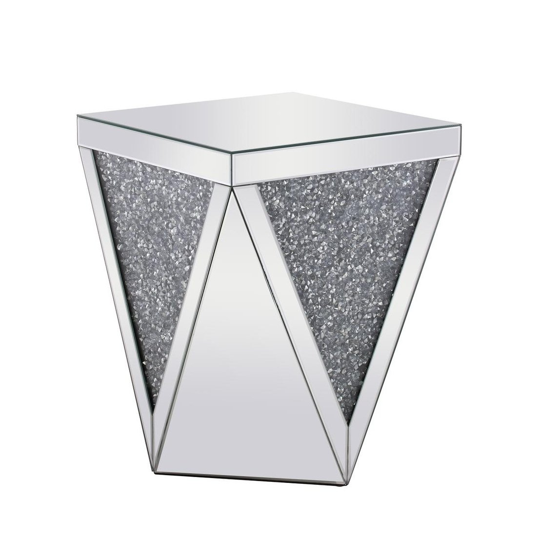 mirrored glass and crystal inch end table free shipping diamond accent today modern couch home furniture design small kitchen lamp cream wood coffee linen rentals pottery barn