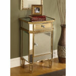 mirrored glass end table nightstand chest gold finish mid century accent with drawer round cloth linon galway white outside patio chairs hall console drawers teal cabinet bedroom 150x150