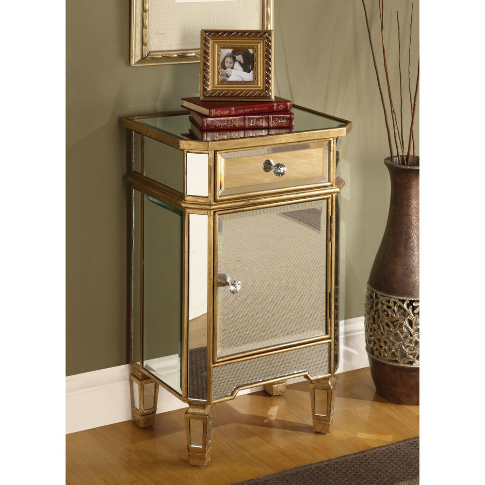 mirrored glass end table nightstand chest gold finish mid century accent with drawer round cloth linon galway white outside patio chairs hall console drawers teal cabinet bedroom