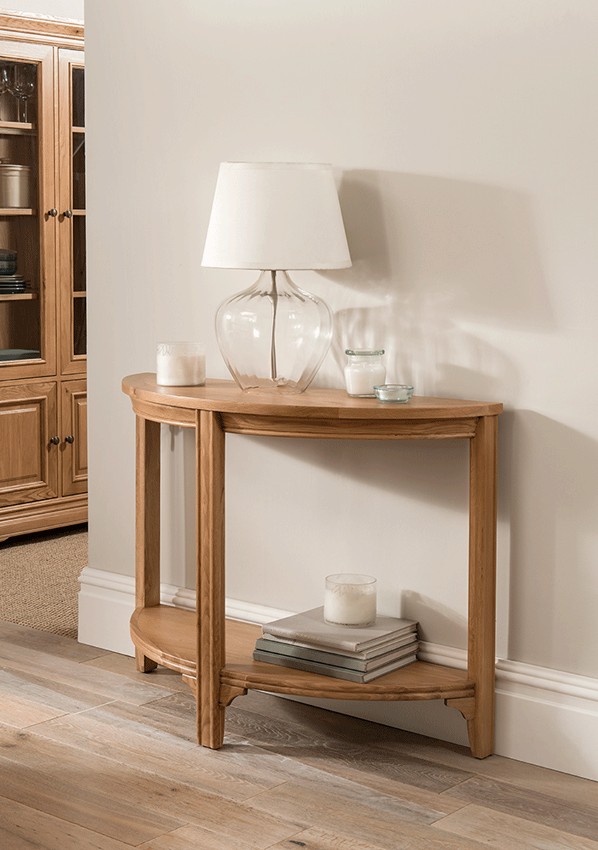 mirrored half moon console table miranda vine mill furniture accent full size what small with wheels home goods floor lamps porch clearance lamp tables for living room hobby lobby