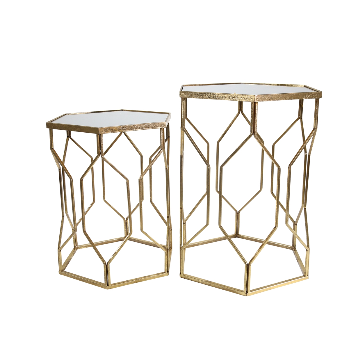 mirrored hexagon accent tables gold sagebrook home glass table with drawer moroccan tray red decor accents small side wooden storage trunk drum throne seat only tall lamps for