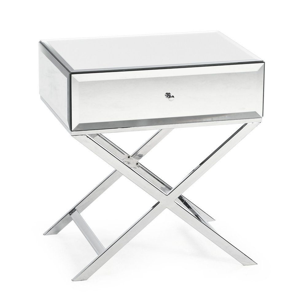 mirrored side table with drawer sofa glass top accent beveled nightstand new bedroom bedside tables modern coffee plans large square rustic silver metal console kitchen light