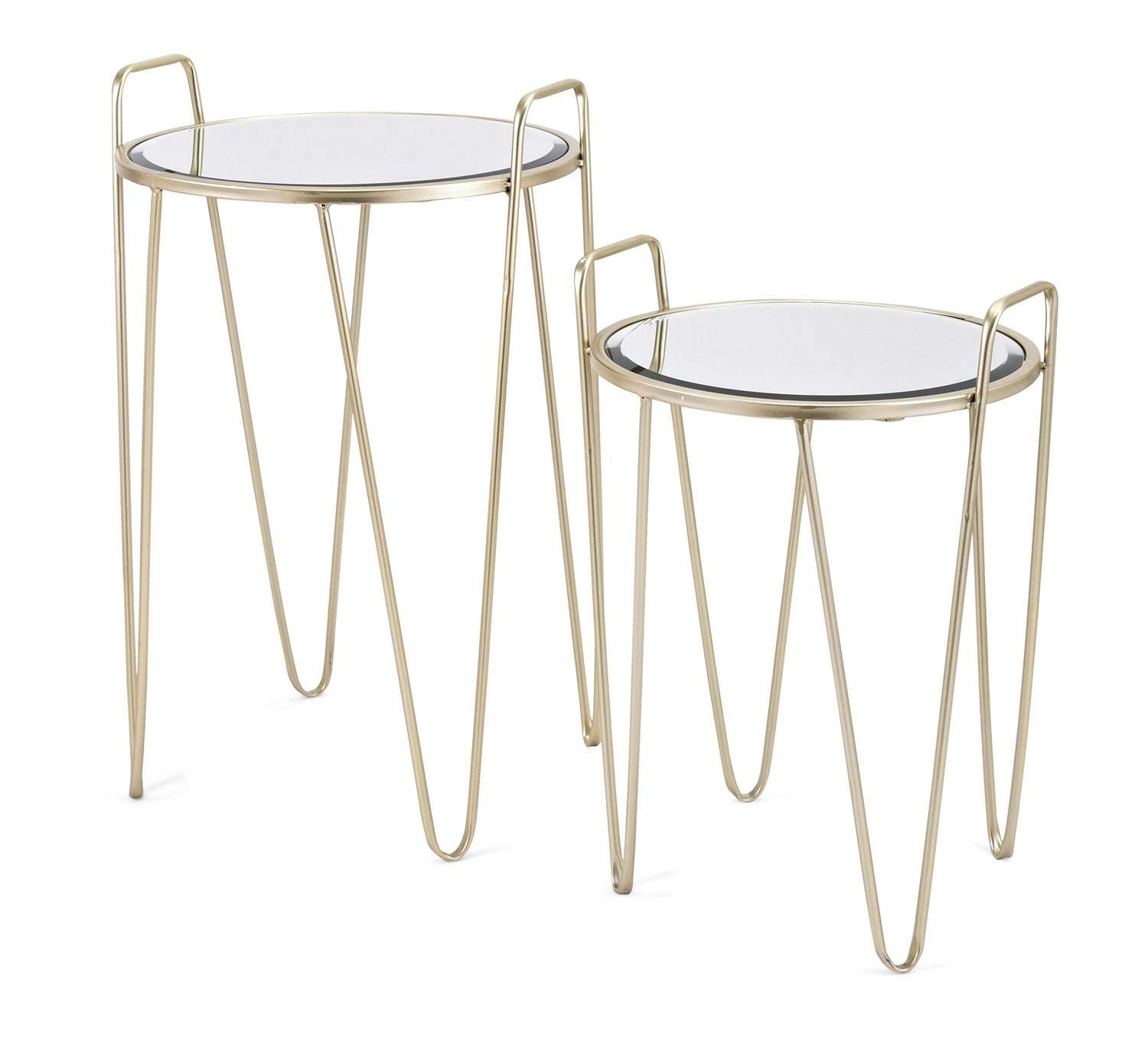 mirrored side tables find accent edmonton get quotations home furnishings set satin gold finished with glass tops ultra modern table lamps oak door threshold long skinny small
