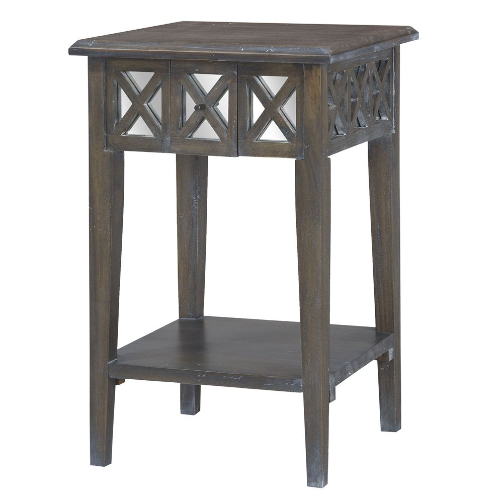 mirrored wood square accent table heritage dark grey stain finish gray black coffee linens metal threshold bar owings target hampton bay wicker patio set outdoor umbrella colorful