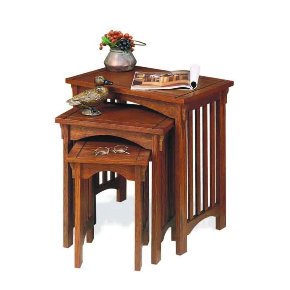 mission oak nesting end table set the tables piece accent corner furniture device charging vintage drop leaf dining pottery barn beds battery operated lamp with timer oriental