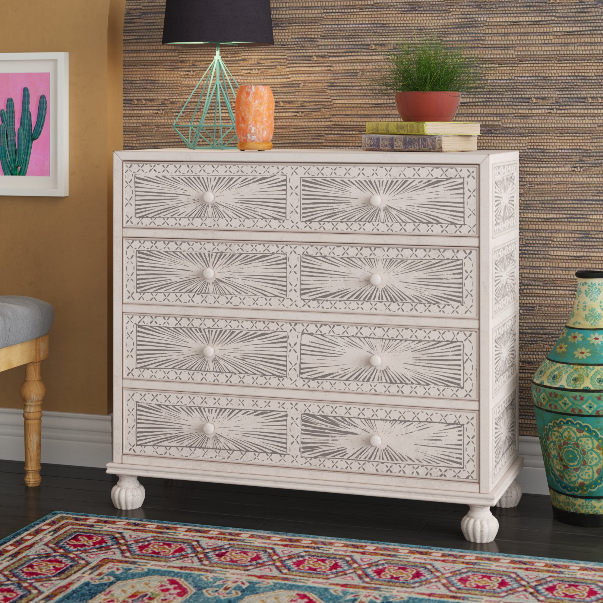mistana stevens traditional hand painted drawer accent chest tables chests reviews garden bistro table and chairs teal blue designer linens counter height round pub white lamp