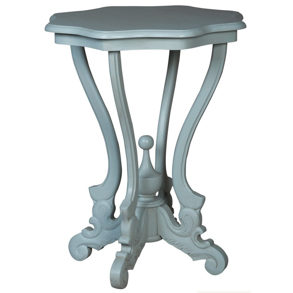 misty blue french accent table coastal cottage belle escape metal pebble side mini lamp with drink cooler screw feet round nightstand modern chandeliers kitchen dining room tables
