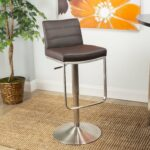 mix brushed stainless steel adjustable height swivel bar stool with round base neelan accent table free shipping today poolside furniture diy rustic coffee modern pedestal side 150x150