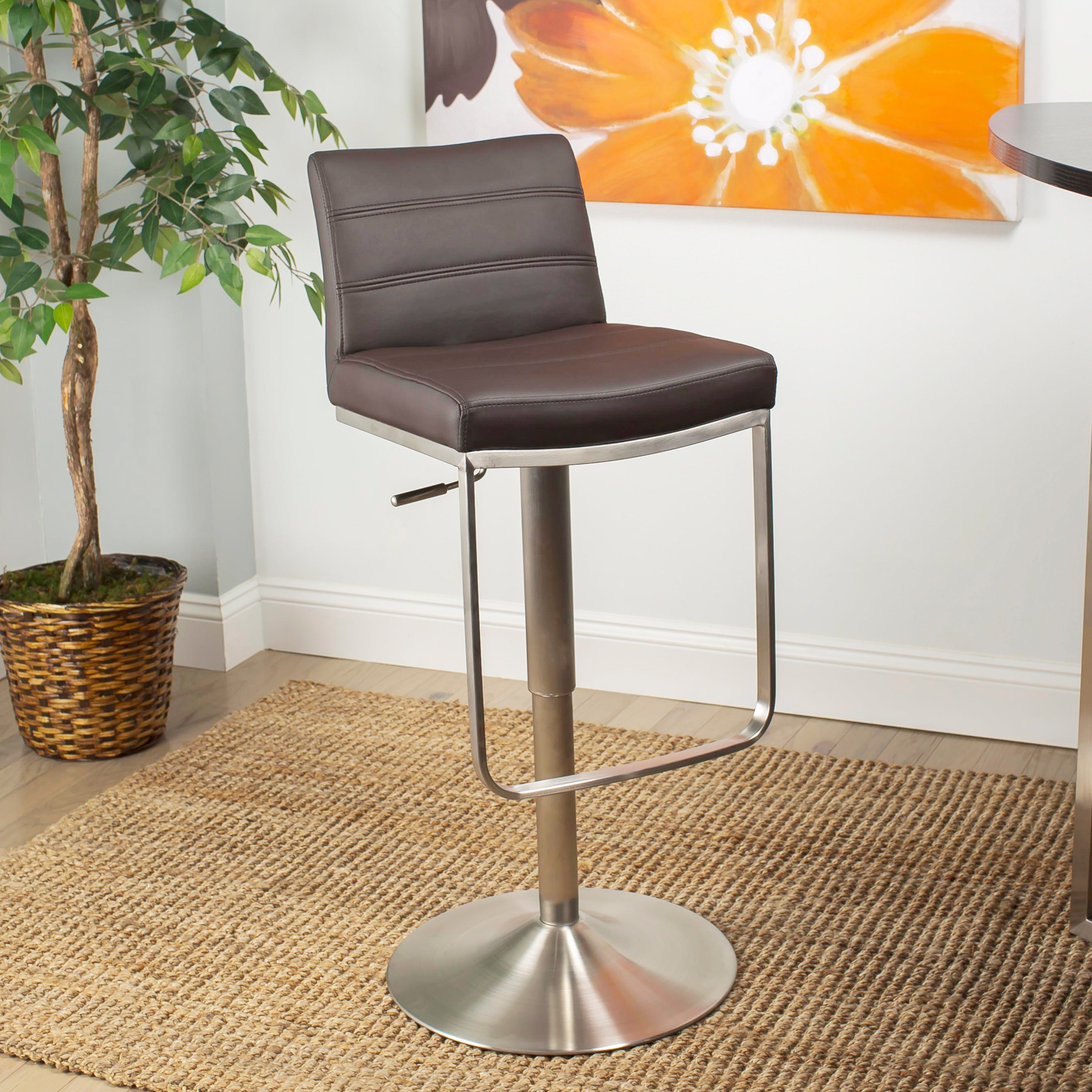 mix brushed stainless steel adjustable height swivel bar stool with round base neelan accent table free shipping today poolside furniture diy rustic coffee modern pedestal side