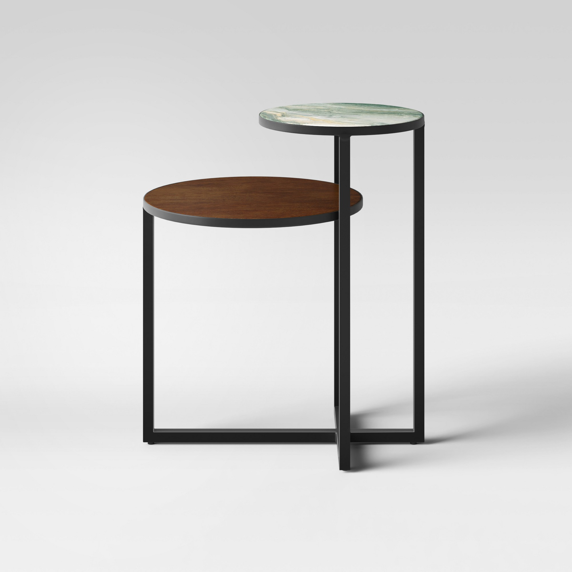 mixed material marble metal accent table project black tablecloths for large round tables base nautical pendant lights pine bedside tray end tall chairs small coffee with drawers