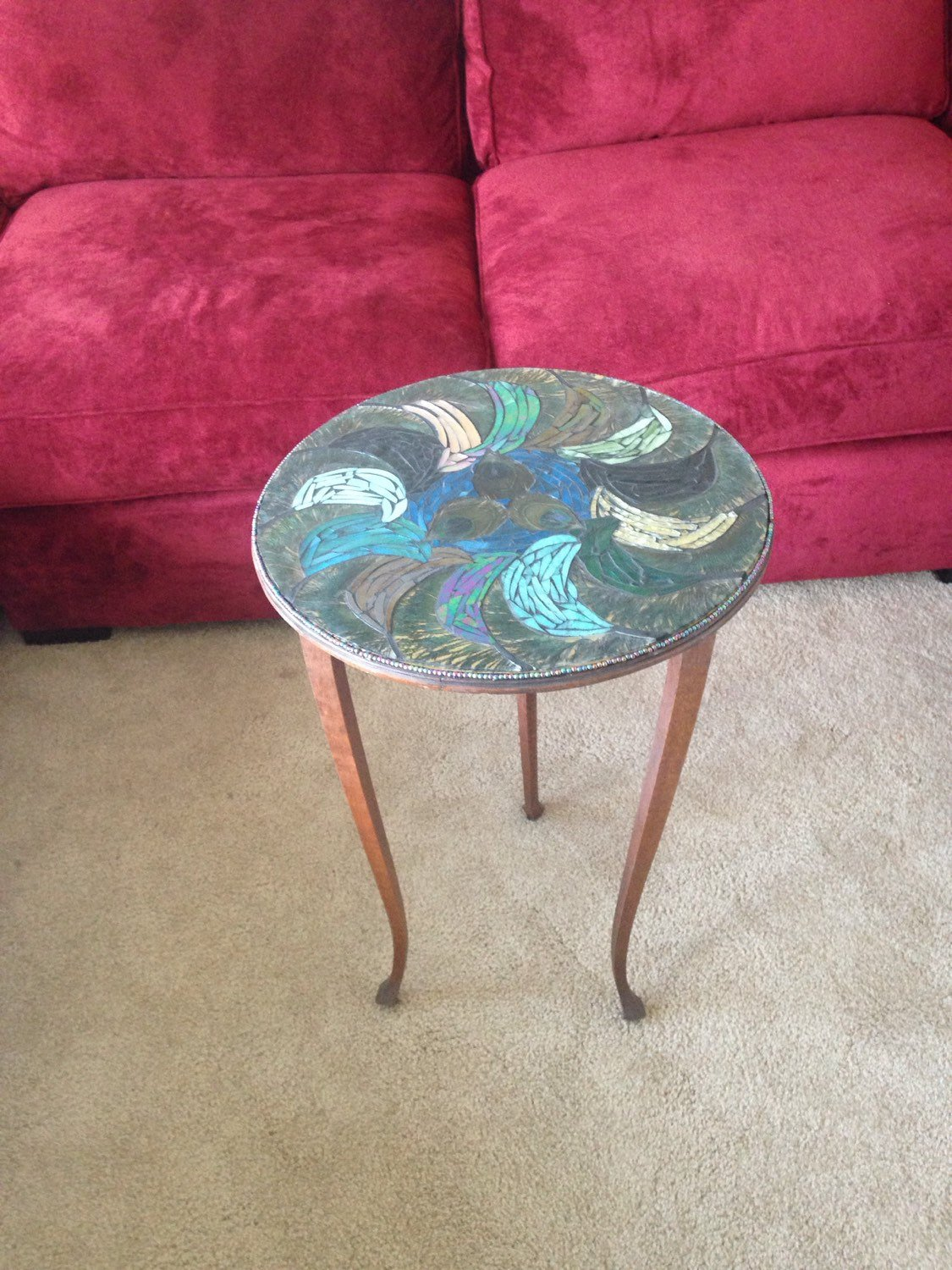 mixed media mosaic peacock feather stained glass accent table fullxfull hmqo dark wood coffee and end tables herman miller west elm square dining childrens bedroom furniture