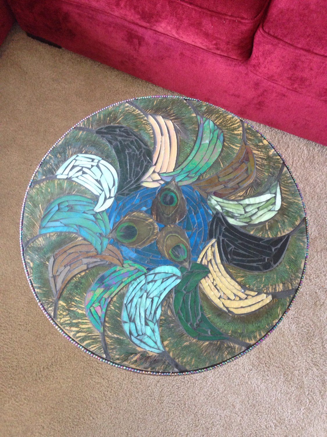 mixed media mosaic peacock feather stained glass accent table fullxfull teal kitchen decor round tables for living room dale tiffany leilani lamp tulip west elm square dining