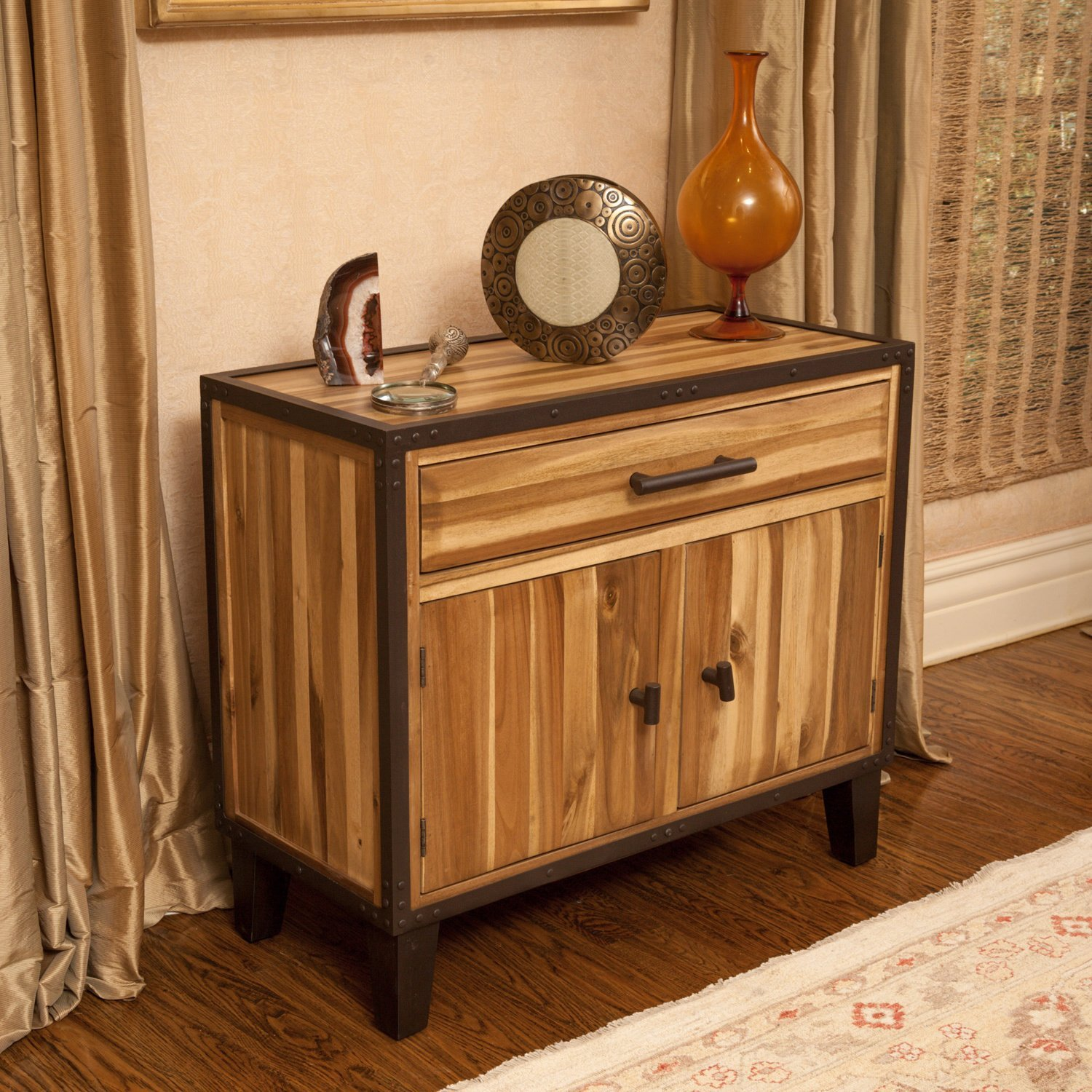 modern acacia wood accent cabinet console table with drawers nailheads cabinets and metal coffee legs inch wall clock target makeup vanity bedroom decoration buffet side west elm