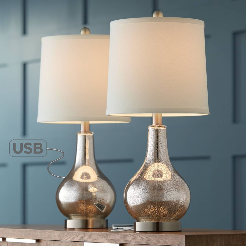 modern accent table lamps set with usb mercury glass for living room office end date sunday pst natural lamp ashley furniture desk solid wood tables pottery barn kitchen blue