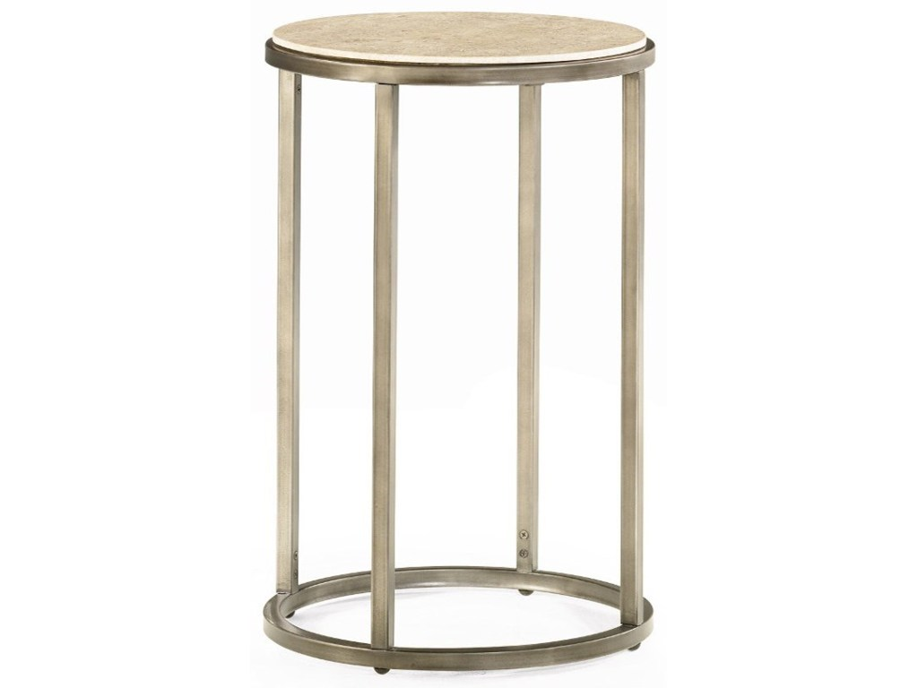 modern basics round end table with bronze finish morris home products hammary color accent basicsround drum throne for tall drummers mini patio umbrella glass gold legs white and