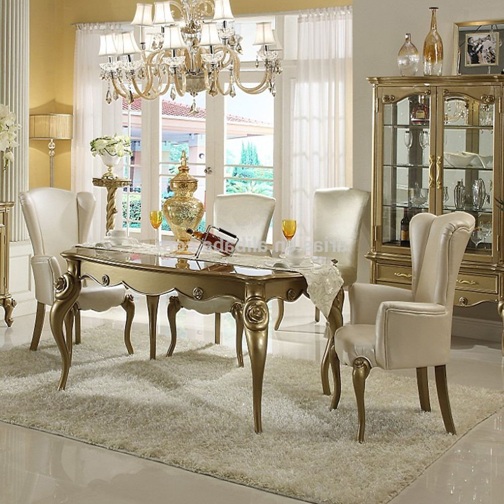 modern classic dining room spindle back chairs white finished wooden chair shabby marble table gorgeous iron stained chandelier easy way accent color the design wood keter drinks