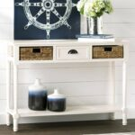 modern console table with lower shelf accent sofa xuybl woven metal center drawer and baskets distressed white kitchen dining ashley furniture coffee end tables diy patio cooler 150x150