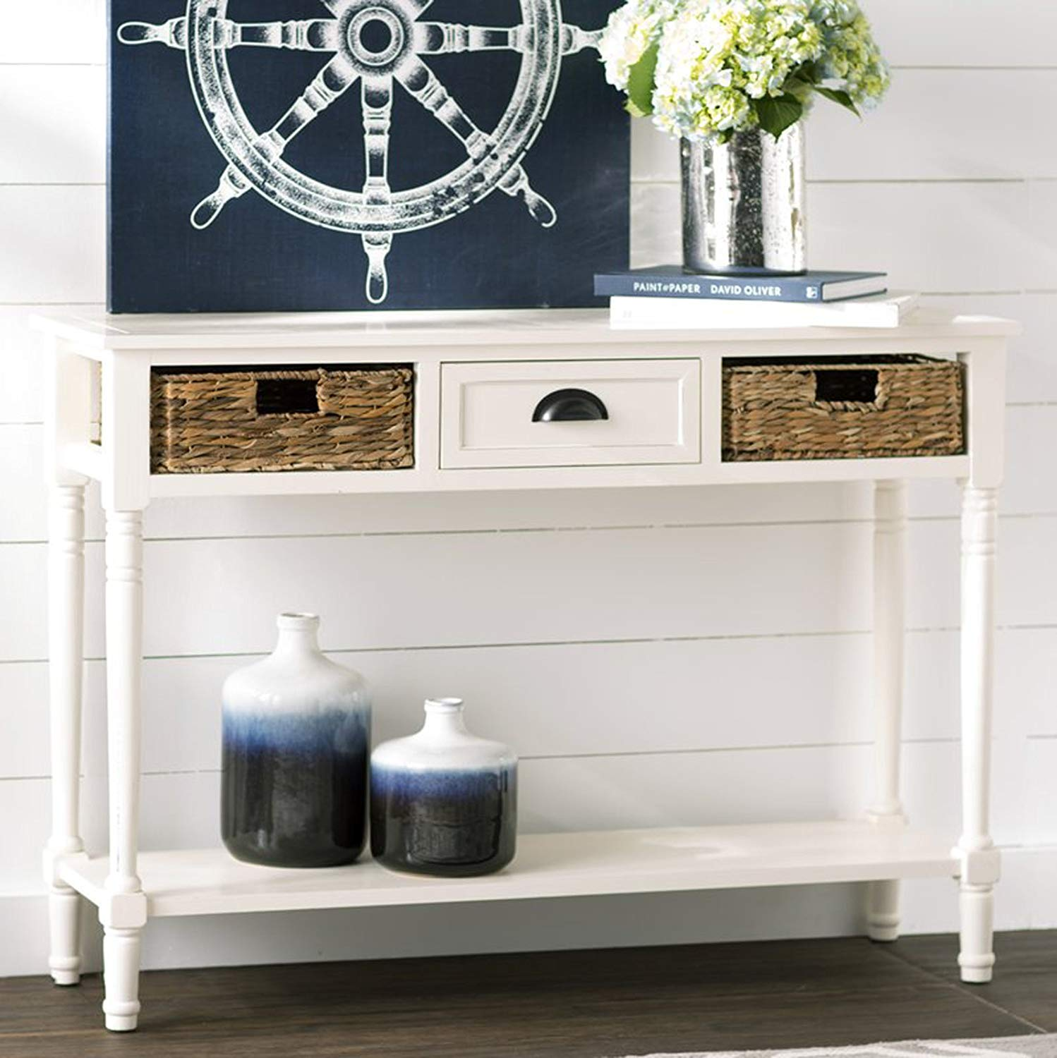 modern console table with lower shelf accent sofa xuybl woven metal center drawer and baskets distressed white kitchen dining ashley furniture coffee end tables diy patio cooler