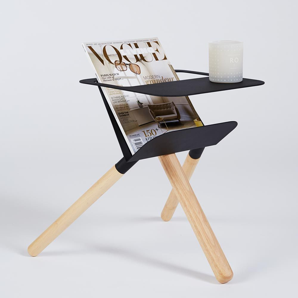 modern contemporary ash wood and black steel ipad magazine stand glass lorelei accent table this which doubles astoria piece chair set banana lounge bunnings wine bar cabinet