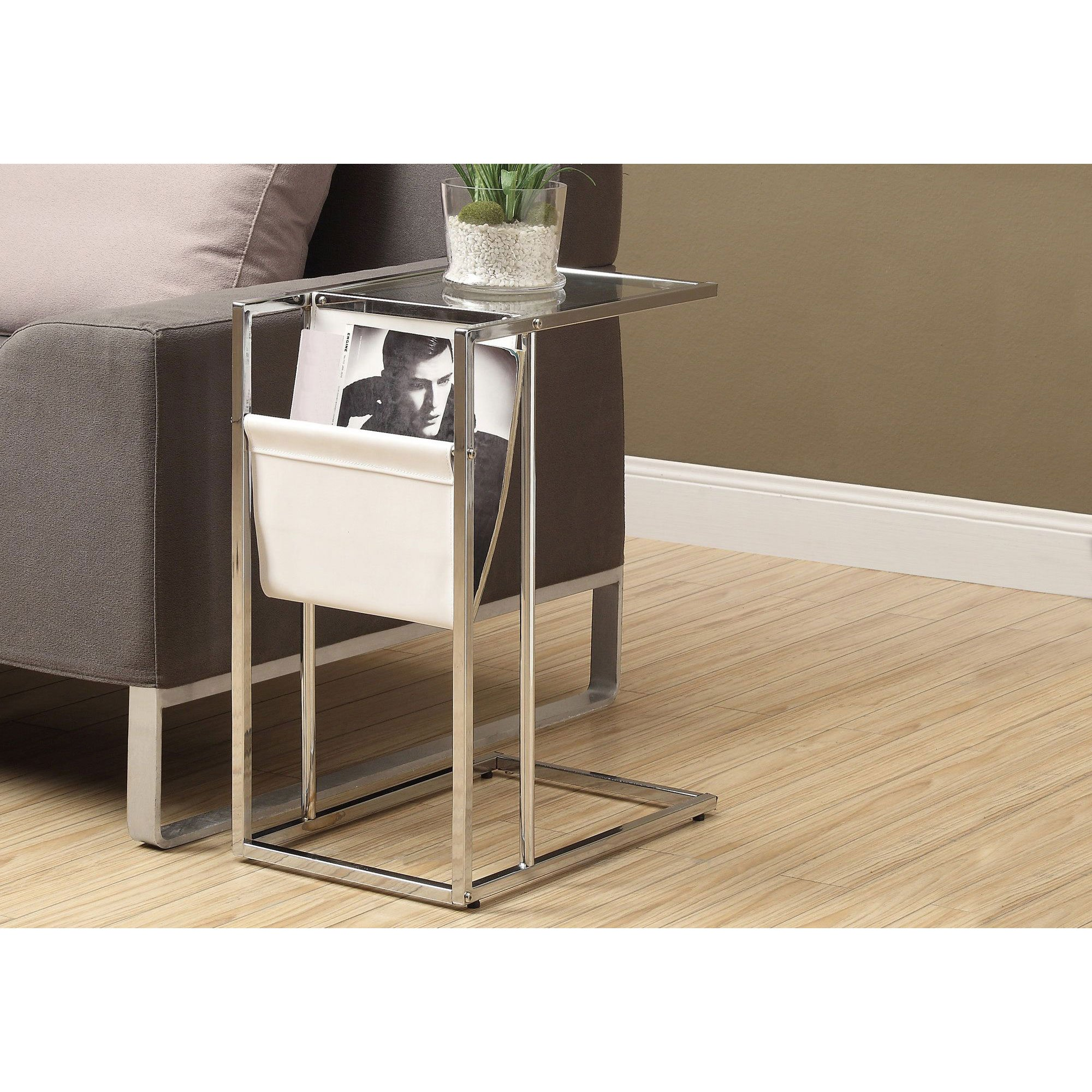 modern contemporary white chrome metal accent table with magazine holder diy barn door black mirrored chest dining room leaf cement base pier one side corner bench set townsend