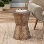 modern copper bronze drum table pierced hammered metal accent end round kitchen dining rustic farmhouse furniture heavy duty umbrella stand pier one imports pillows patio tables 150x150