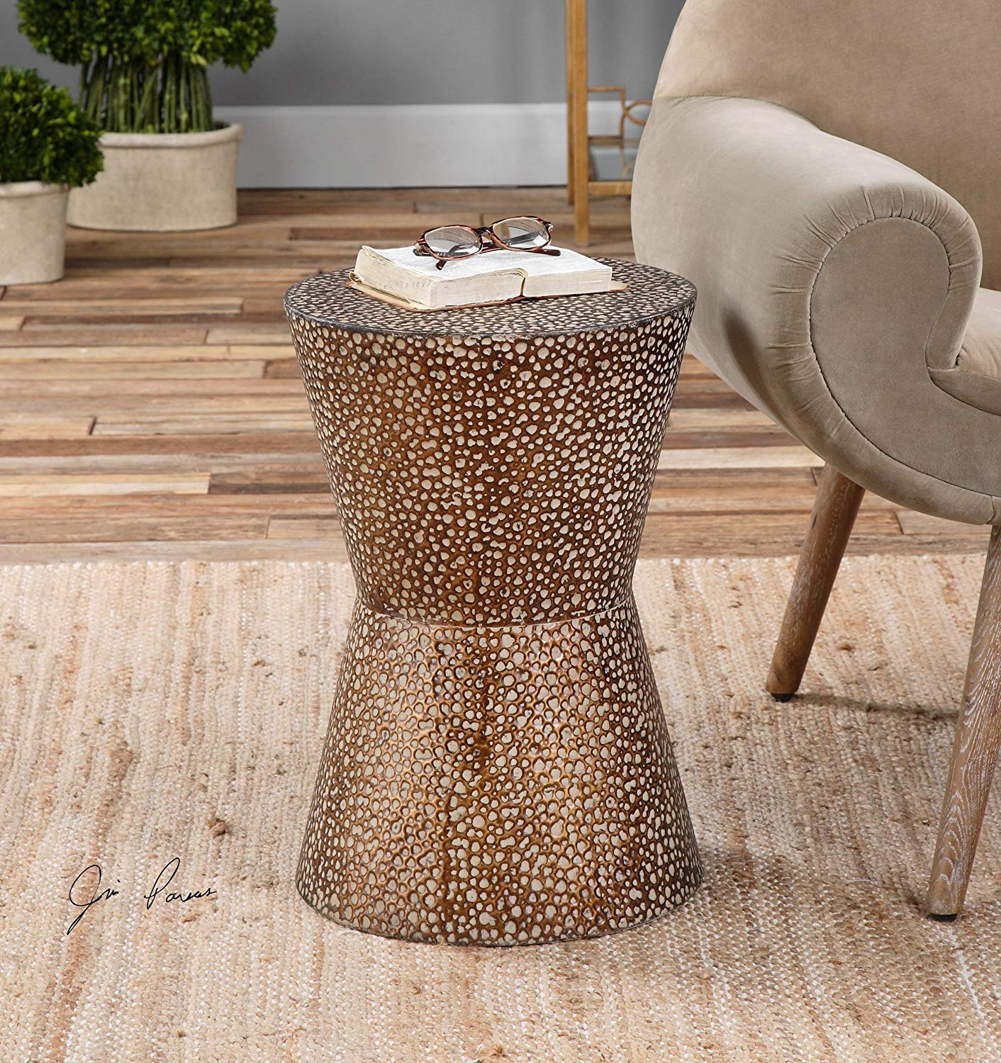 modern copper bronze drum table pierced hammered metal round accent end kitchen dining beach hut accessories folding drinks nic set bunnings gold coffee throne for tall drummers