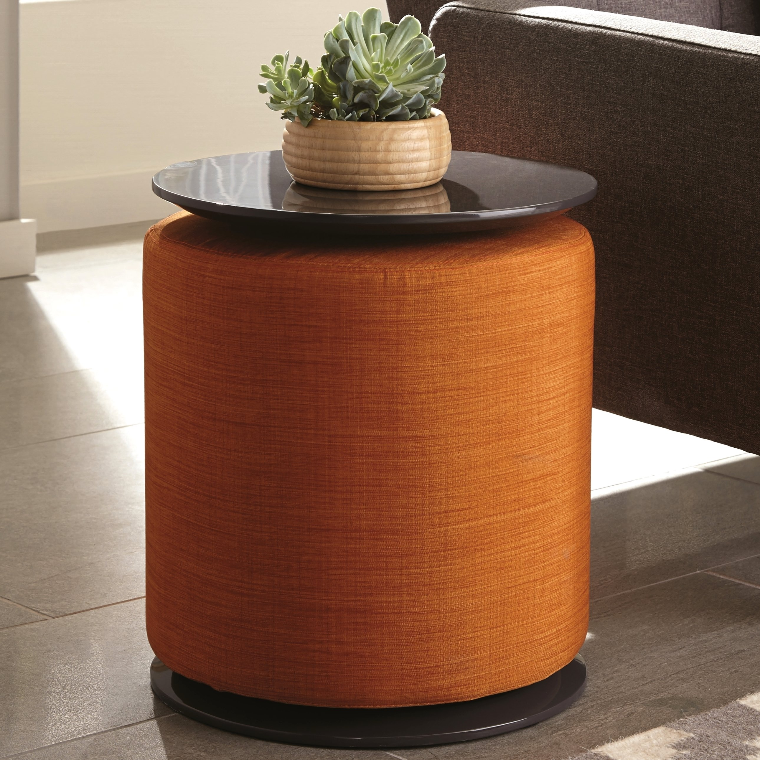 modern cylinder design accent table with orange ott free drum teak console lamps wicker storage baskets west elm buffet marble top ikea plastic boxes outdoor cooler stand black