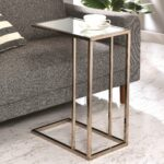 modern design chocolate chrome living room accent table with tempered mirrored glass top drawer free shipping today tall console cloth beach floor lamp leg extenders pier one 150x150