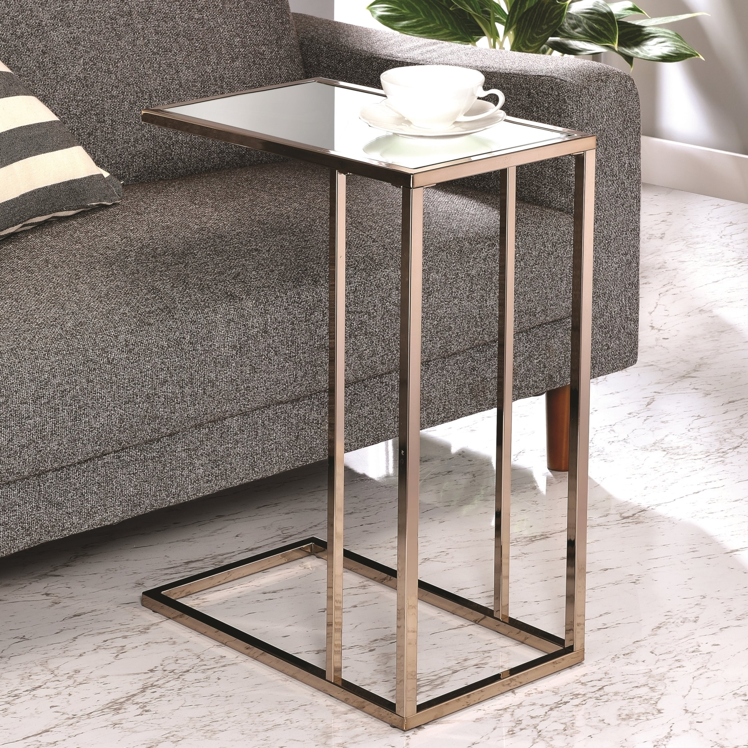 modern design chocolate chrome living room accent table with tempered mirrored glass top tables free shipping today small coffee long slim console target marble chinese jar lamps