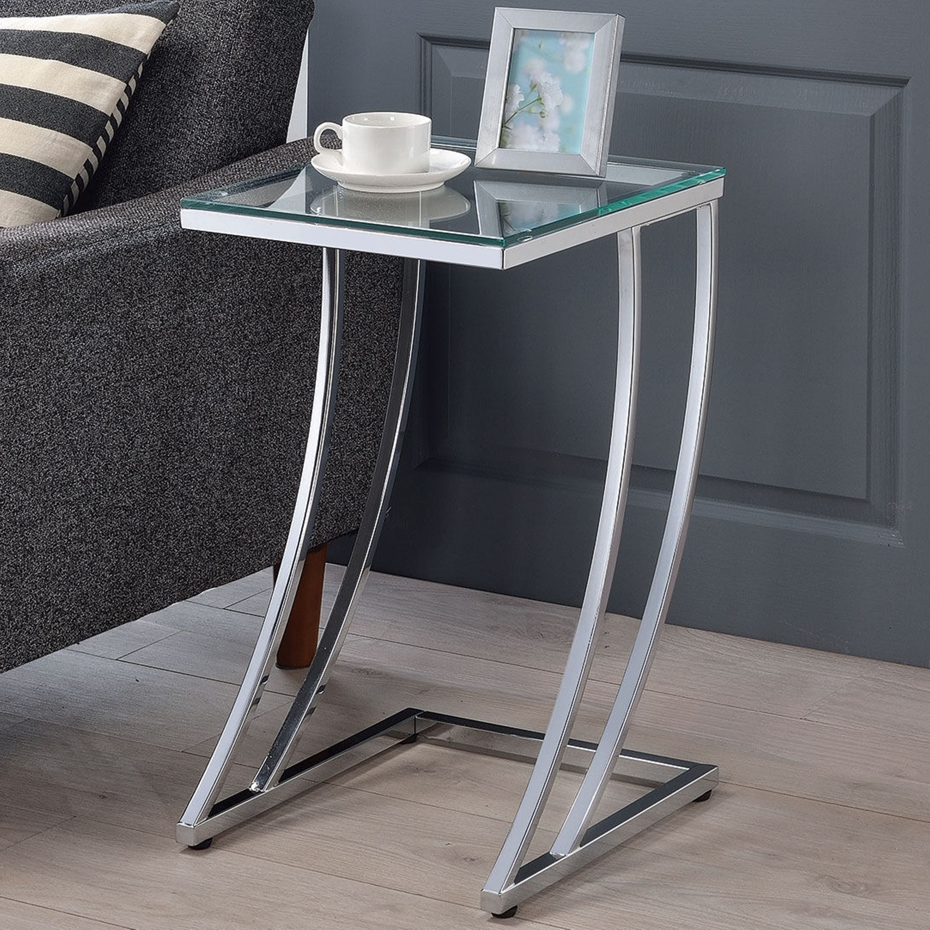 modern design chrome accent table with tempered glass top silver gray short sofa garden patio small round farmhouse dragonfly lamp home goods bedside tables black and white dining