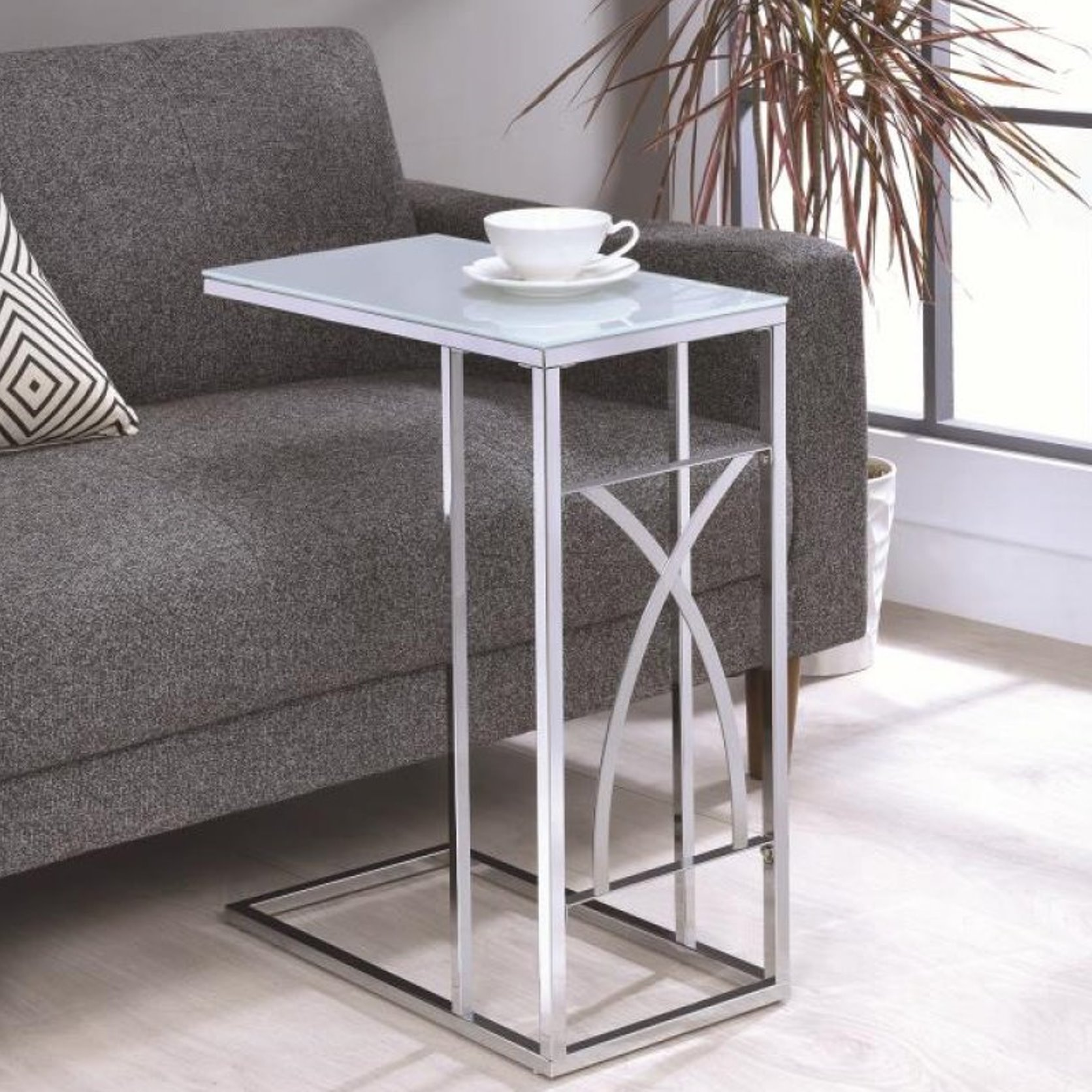 modern design living room chrome accent snack table with frosted tempered glass top free shipping today inch high end oval and metal coffee wicker patio set dining clearance