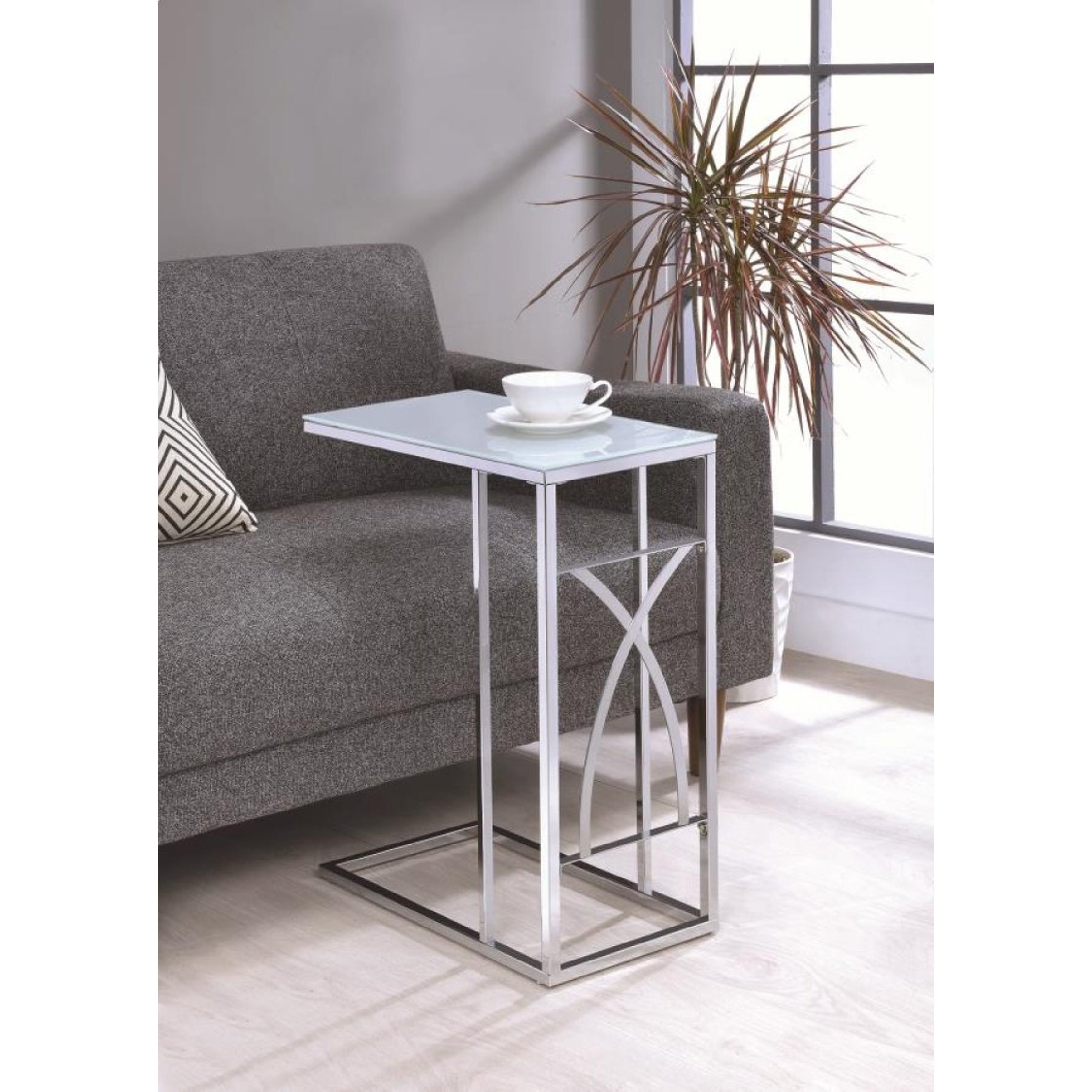 modern design living room chrome accent snack table with frosted tempered glass top free shipping today marble coffee wooden legs and black silver sauder storage cabinet inch high
