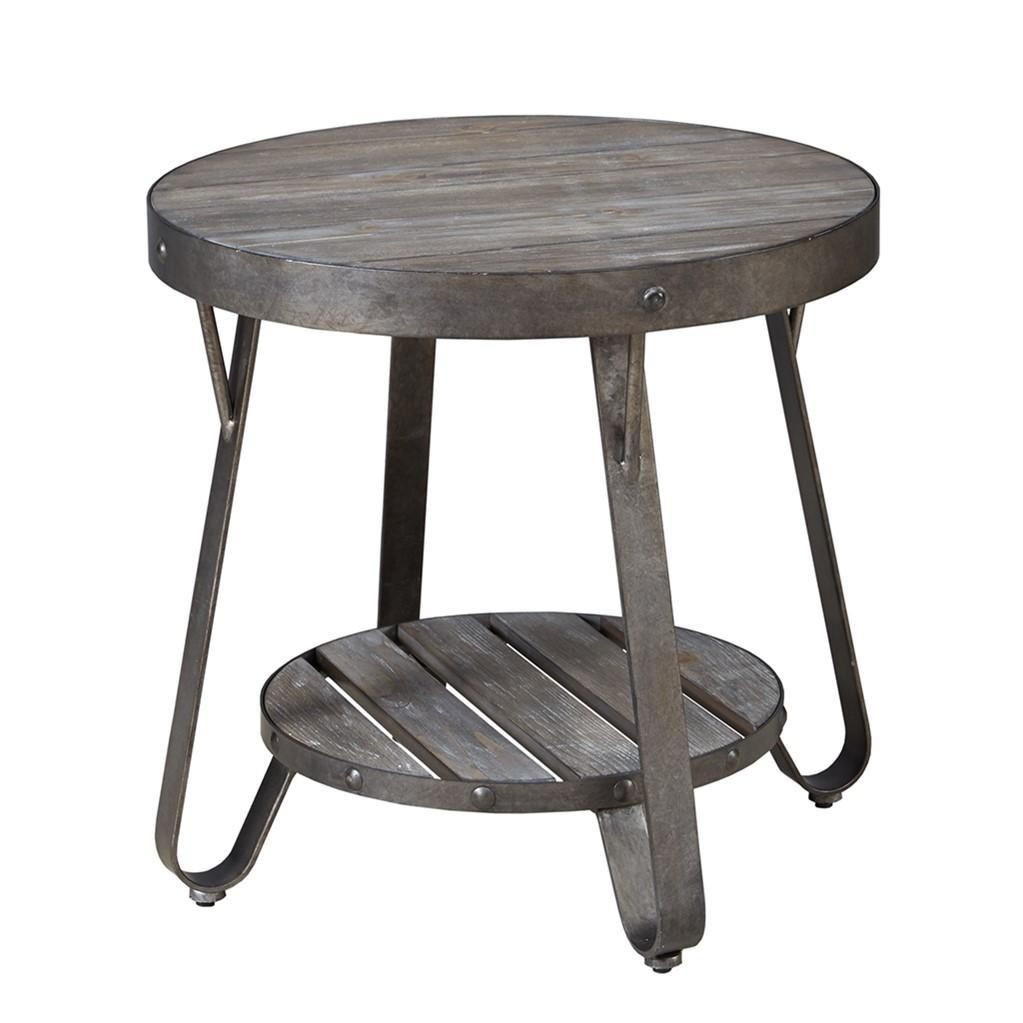 modern driftwood rustic gray wood and metal inch round accent end table side black wrought iron patio home accessories aluminium door threshold rechargeable lamps for chair design