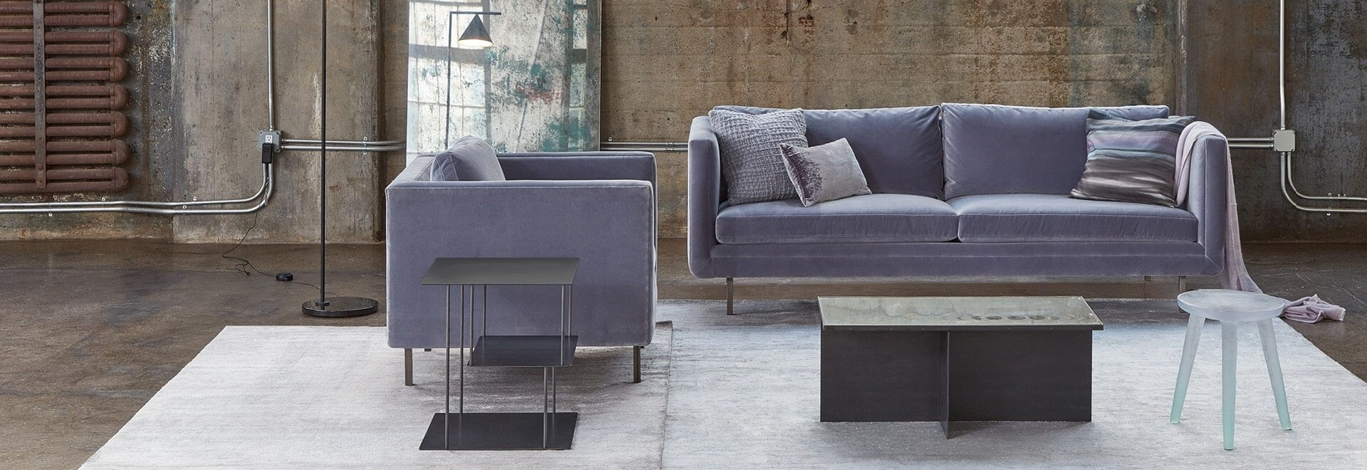 modern end tables and side home carpet coffee fall updates hero room essentials mixed material accent table violet armchair love seat sit atop white rug accented mirrored gunmetal