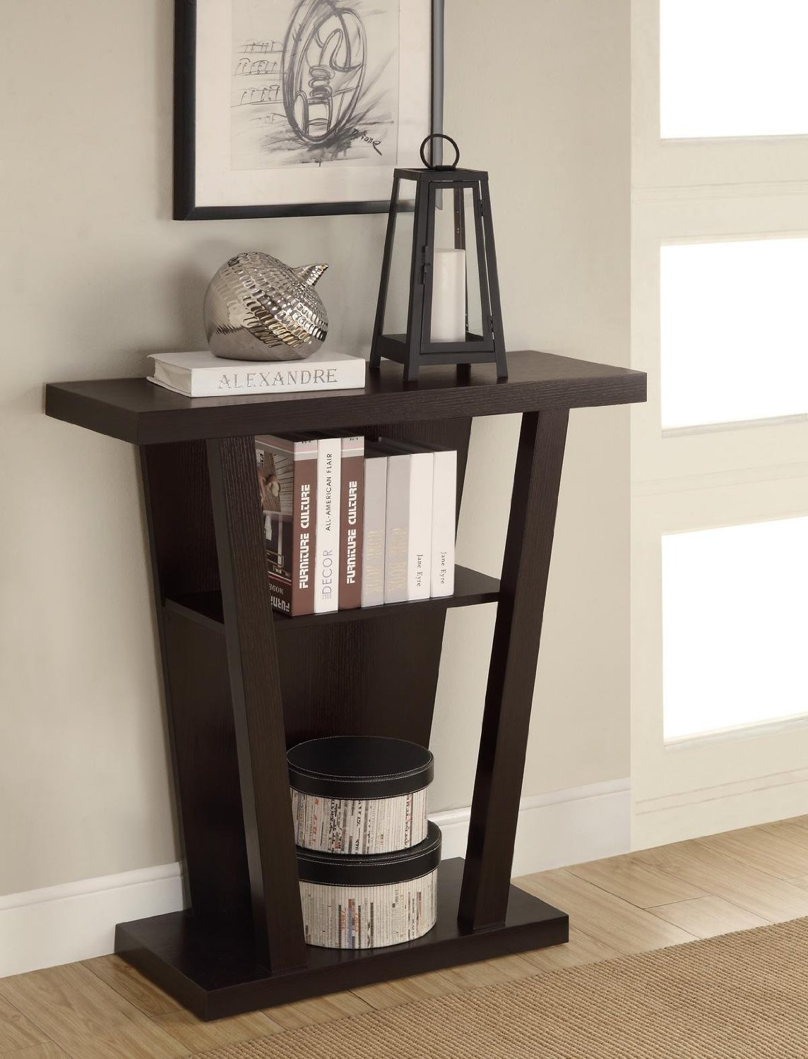 modern entry table find line espresso tall accent get quotations styling angular base finish wood hall sofa console with lower shelf agate drawer side company cordless reading