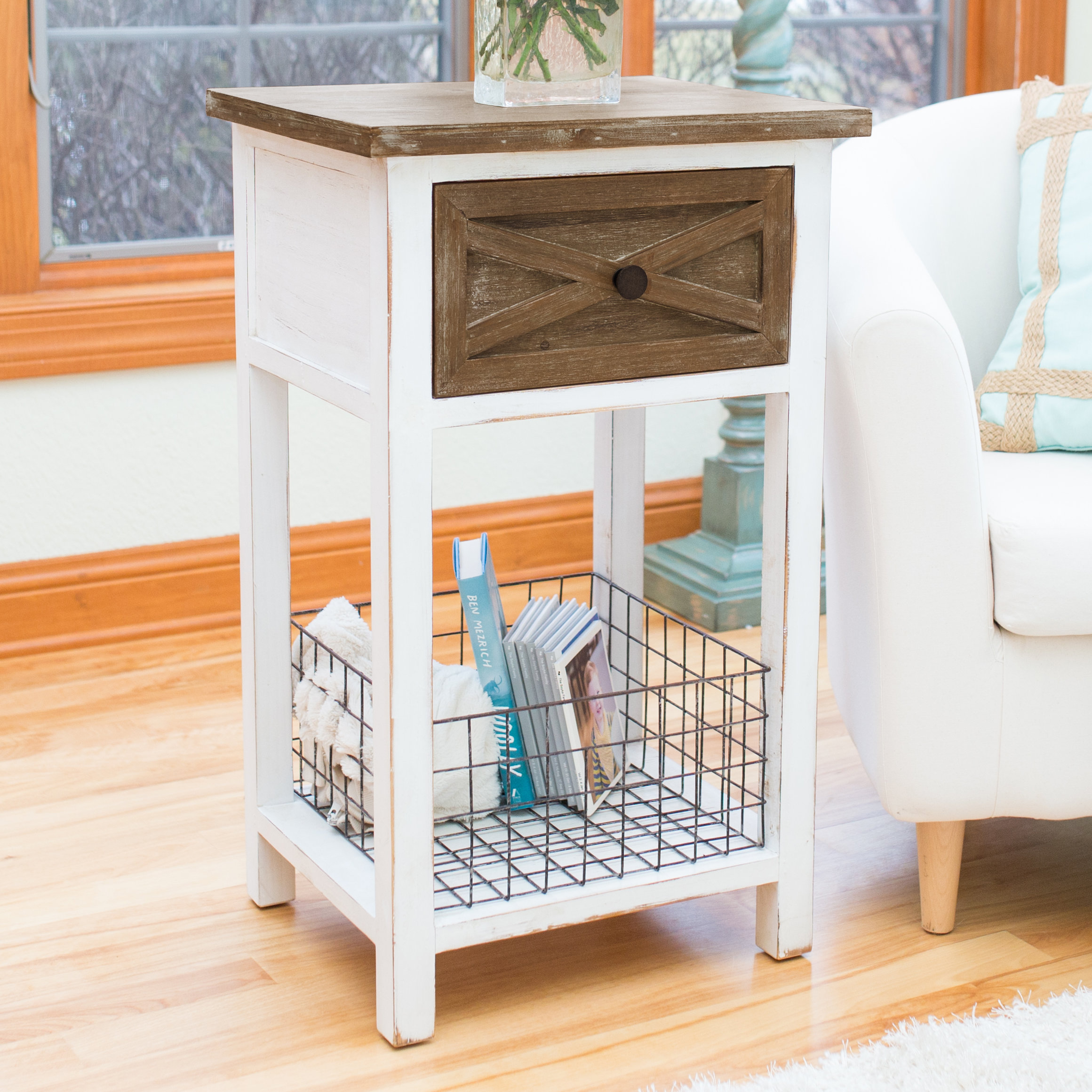 modern farmhouse end table with storage round accent ice box cooler office rustic style tables hairpin leg fall placemats and napkins glass white marble top coffee entryway inch