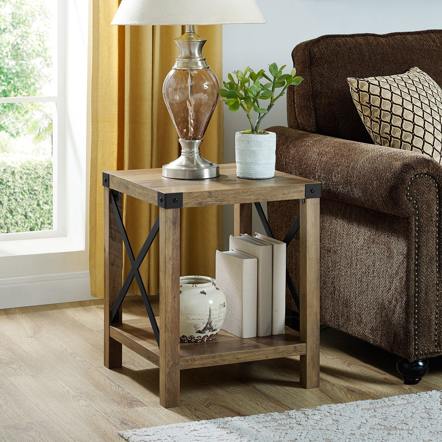 modern farmhouse rustic oak side table living room accent end outdoor recliner contemporary lamp shades kitchen island wheels leather sectional edmonton threshold mango wood